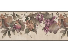 Prepasted Wallpaper Borders - Peach Grape Fruit Wall Paper Border