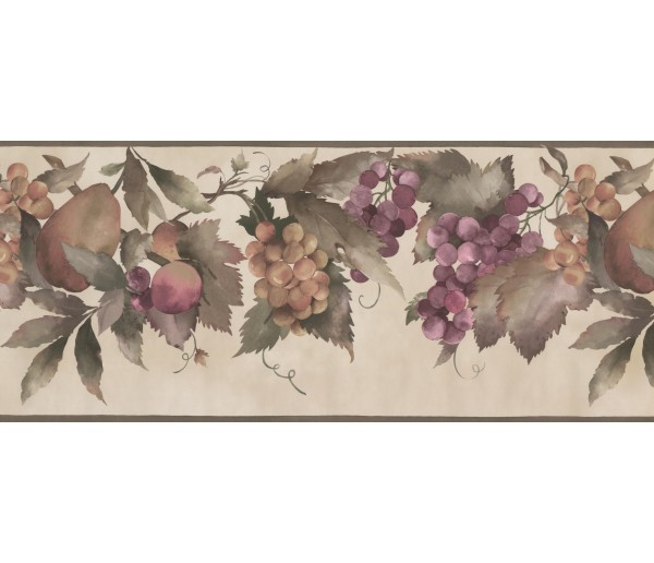 Garden Wallpaper Borders: Peach Grape Fruit Wallpaper Border