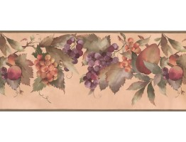Prepasted Wallpaper Borders - Orange Blue Peaches Wall Paper Border
