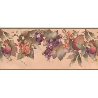 10 in x 15 ft Prepasted Wallpaper Borders - Orange Blue Peaches Wall Paper Border