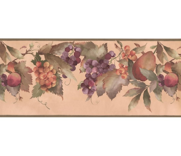Garden Wallpaper Borders: Orange Blue Peaches Wallpaper Border