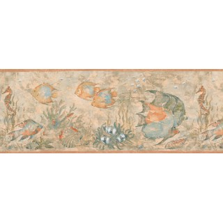 9 in x 15 ft Prepasted Wallpaper Borders - Blue Angel Fish Wall Paper Border