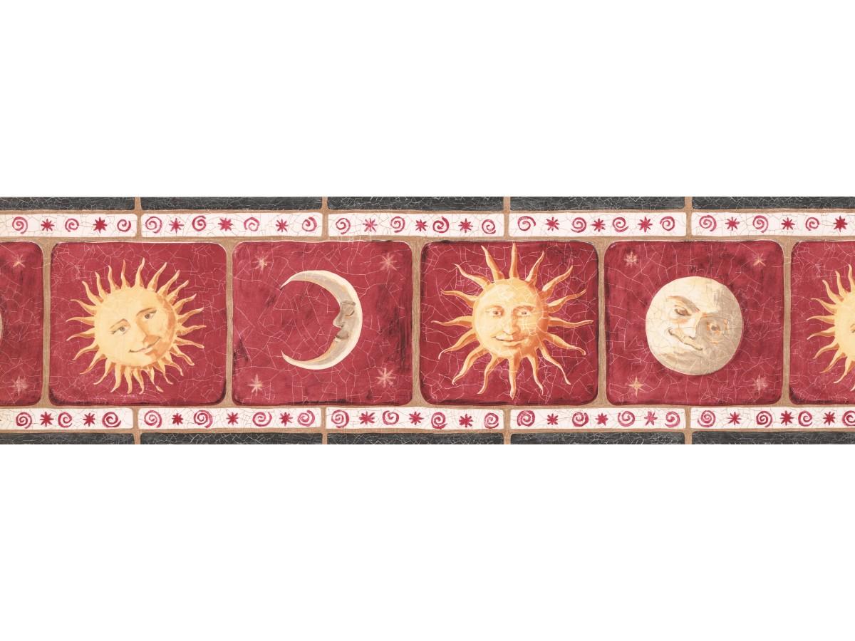 Red Background Sun Moon Wallpaper Border