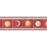 Prepasted Wallpaper Borders - Red Background Sun Moon Wall Paper Border