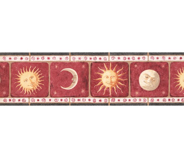 Sun Moon Stars Borders Red Background Sun Moon Wallpaper Border York Wallcoverings