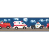 Toys Wallpaper Borders: Blue Background Ambulance Painting Wallpaper Border