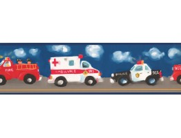 Blue Background Ambulance Painting Wallpaper Border
