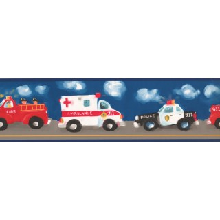 7 in x 15 ft Prepasted Wallpaper Borders - Blue Background Ambulance Painting Wall Paper Border