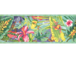 Prepasted Wallpaper Borders - WATERCOLOR RAINBOW RAINFOREST FROGS Wall Paper Border