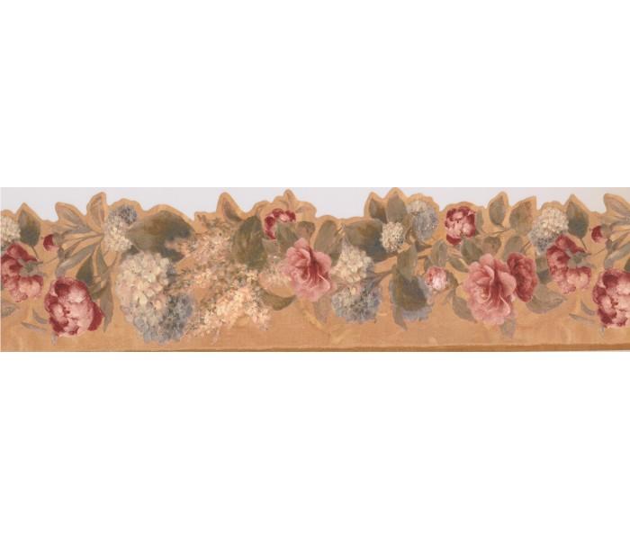 Garden Wallpaper Borders: Brown Background Running Red Roses Wallpaper Border