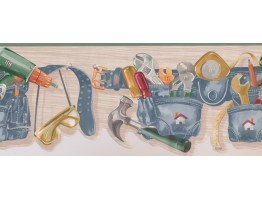 Green Carpenter Tool Belt Wallpaper Border