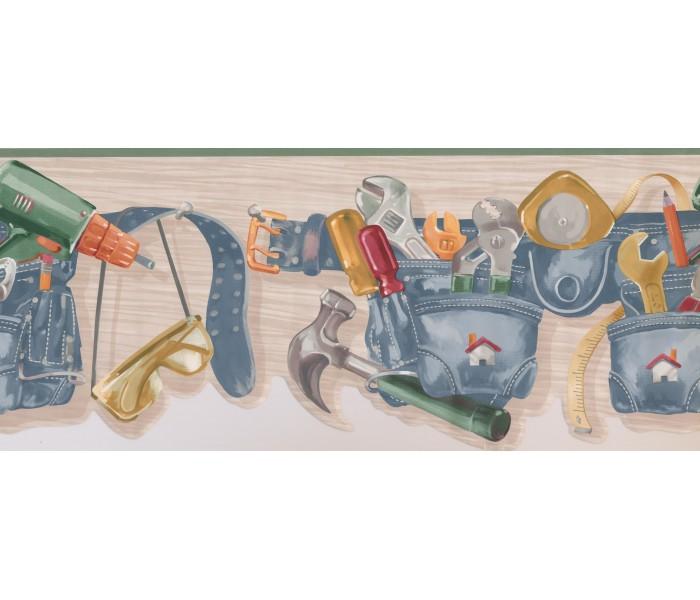 Boys Wallpaper Borders: Green Carpenter Tool Belt Wallpaper Border