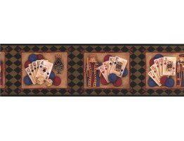 Prepasted Wallpaper Borders - Green Casino Cards Wall Paper Border