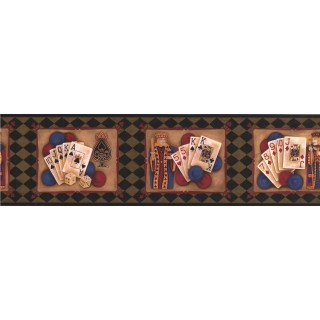 7 in x 15 ft Prepasted Wallpaper Borders - Green Casino Cards Wall Paper Border