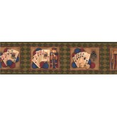 Clearance: Reverse Green Casino Cards Wallpaper Border