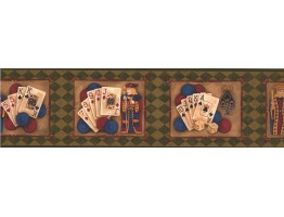 Prepasted Wallpaper Borders - Reverse Green Casino Cards Wall Paper Border