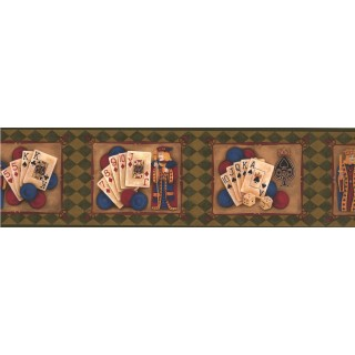 7 in x 15 ft Prepasted Wallpaper Borders - Reverse Green Casino Cards Wall Paper Border