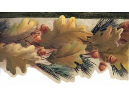 Green Oak Leaves Wallpaper Border