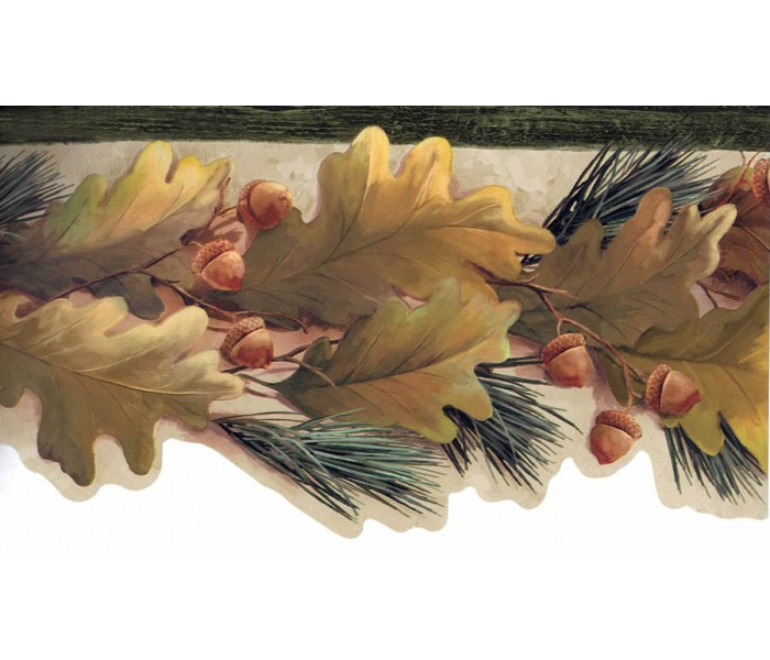 Garden Wallpaper Borders: Green Oak Leaves Wallpaper Border