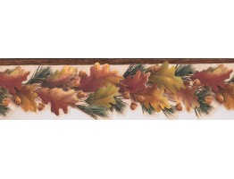 Yellow Nut Green Leaves Wallpaper Border
