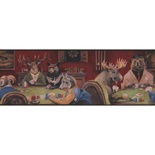 9 in x 15 ft Prepasted Wallpaper Borders - Goat Deer Casino Wall Paper Border