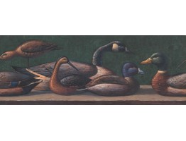 Prepasted Wallpaper Borders - Dark Blue Brown Ducks Wall Paper Border
