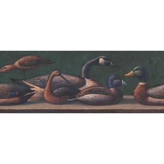 9 in x 15 ft Prepasted Wallpaper Borders - Dark Blue Brown Ducks Wall Paper Border