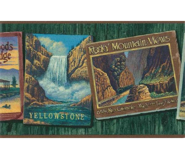 Lodge Wallpaper Borders: Rock Mountain Views Photo Frame Wallpaper Border