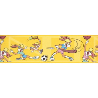 7 in x 15 ft Prepasted Wallpaper Borders - Funny Rabit Baseball Wall Paper Border