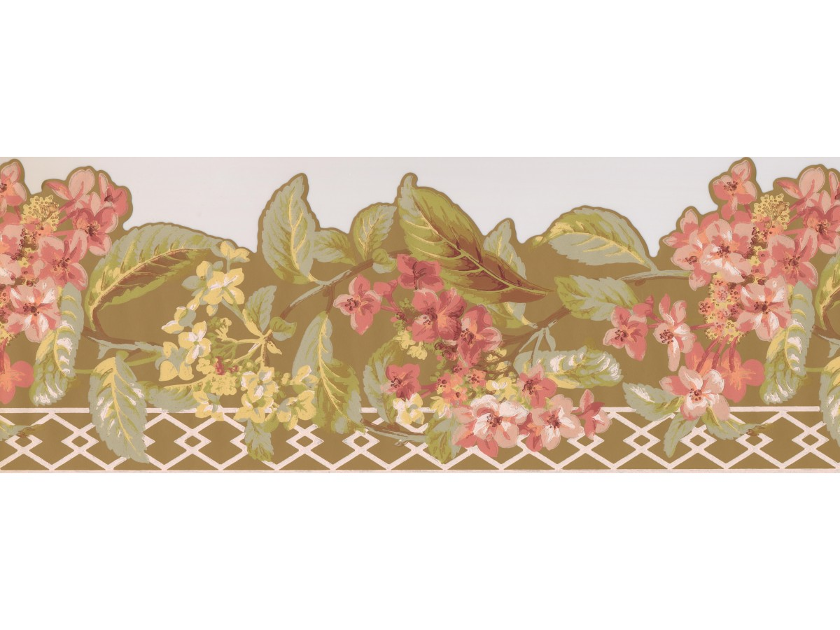 Floral Borders Pink Flower Green Leaf Floral Wallpaper