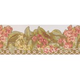 Floral Wallpaper Borders: Pink Flower Green Leaf Floral Wallpaper Border