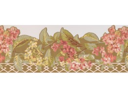 Prepasted Wallpaper Borders - Pink Flower Green Leaf Floral Wall Paper Border