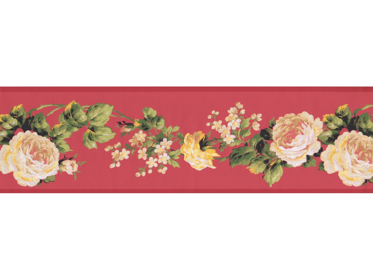 White Rose Floral Wallpaper Border