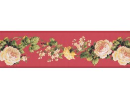 Prepasted Wallpaper Borders - White Rose Floral Wall Paper Border