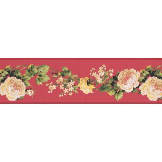 7 in x 15 ft Prepasted Wallpaper Borders - White Rose Floral Wall Paper Border