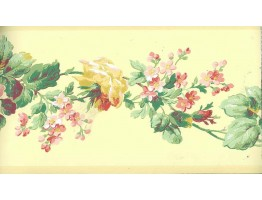 Yellow Rose Floral Wallpaper Border