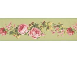 Pink Rose Floral Wallpaper Border