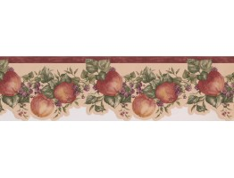 6 1/2 in x 15 ft Prepasted Wallpaper Borders - Bordo Cream Apple Raspberry Branches Wall Paper Border