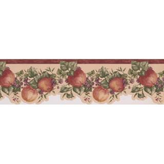 6 1/2 in x 15 ft Prepasted Wallpaper Borders - Bordo Cream Apple Raspberry Branches Wall Paper Border