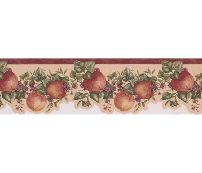 Garden Wallpaper Borders: Bordo Cream Apple Raspberry Branches Wallpaper Border