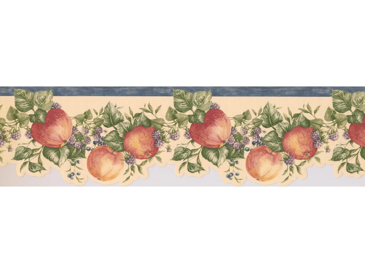 Blue White Blackberries Apples Wallpaper Border