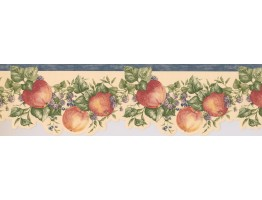 6 1/2 in x 15 ft Prepasted Wallpaper Borders - Blue White Blackberries Apples Wall Paper Border