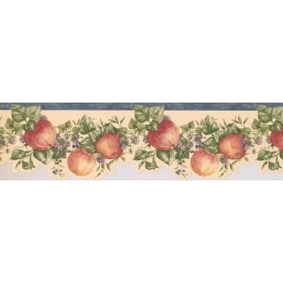 6 1/2 in x 15 ft Prepasted Wallpaper Borders - Blue White Blackberries Apples Wall Paper Border