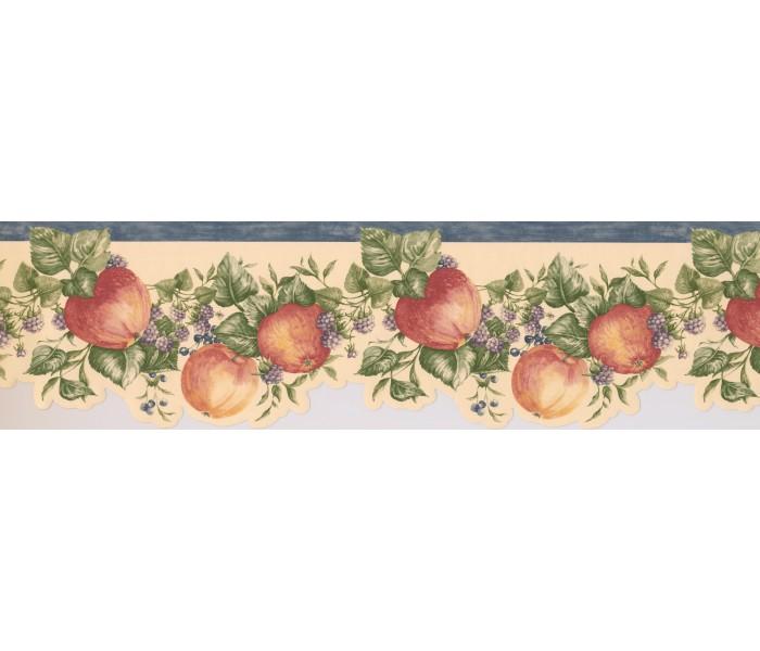 Clearance: Blue White Blackberries Apples Wallpaper Border