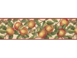Prepasted Wallpaper Borders - Red Cream Green Apple Branches Wall Paper Border