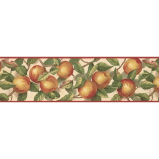6 1/2 in x 15 ft Prepasted Wallpaper Borders - Red Cream Green Apple Branches Wall Paper Border