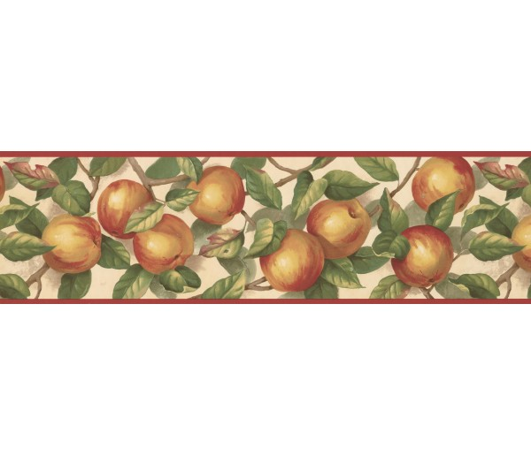 Clearance: Red Cream Green Apple Branches Wallpaper Border