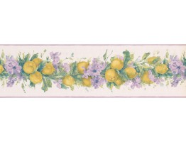 Prepasted Wallpaper Borders - Purple White Primrose Lemons Wall Paper Border