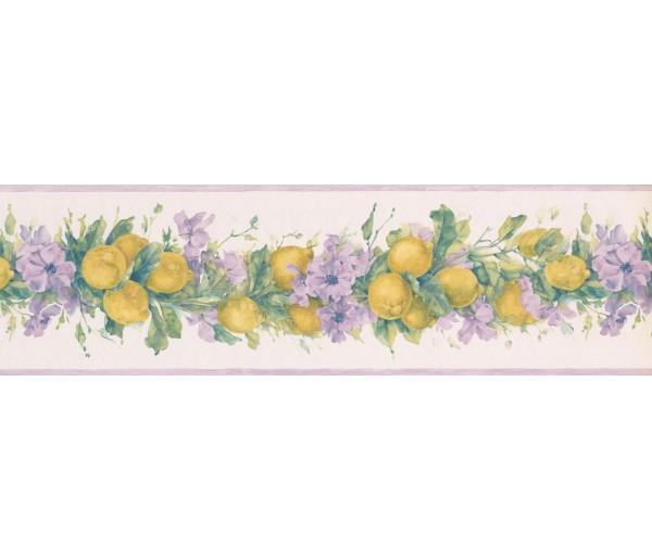 Garden Wallpaper Borders: Purple White Primrose Lemons Wallpaper Border