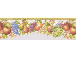 Prepasted Wallpaper Borders - Yellow White Molding Fruits Floral Wall Paper Border